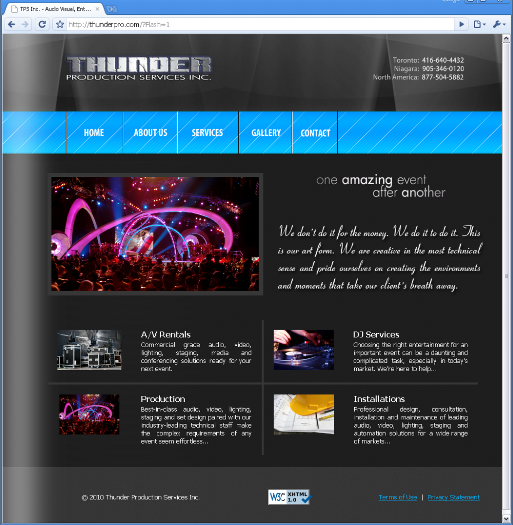 The ThunderPro.com website, launched December 2009